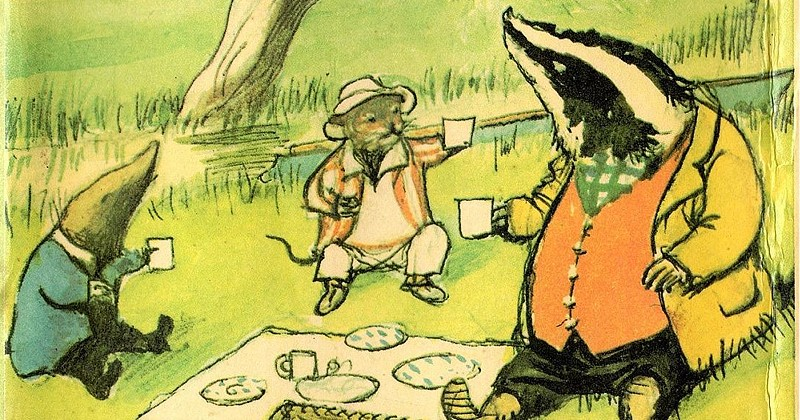 drawing of animals having a picnic